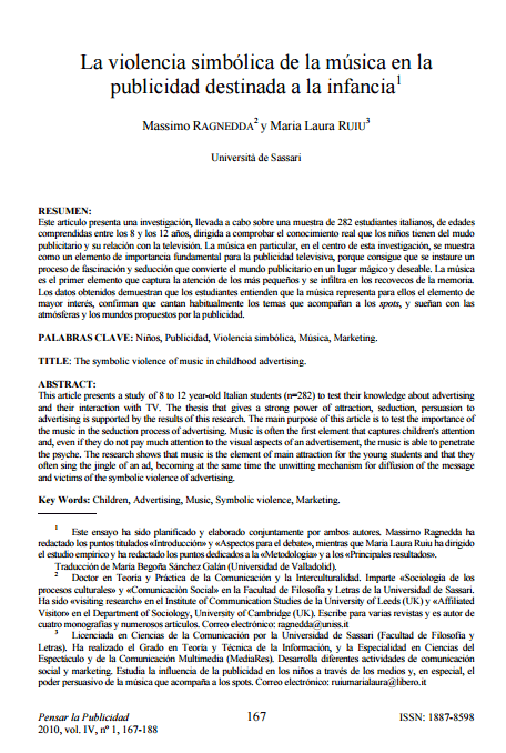 Imagem da capa de um documento em espanhol: La violencia simbólica de la música en la publicidad destinada a la infancia.