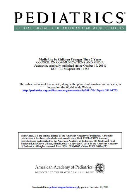Imagem da capa do documento em inglês: Media Use by Children Younger Than 2 Years.