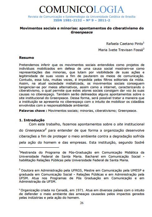Imagem capa do documento: Movimentos sociais e minorias: apontamentos do ciberativismo do Greenpace.