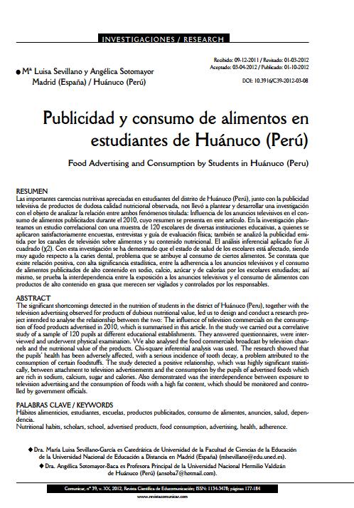 Imagem de um documento em espanhol: Publicidad y consumo de alimentos en estudiantes de Huánuco (Perú)