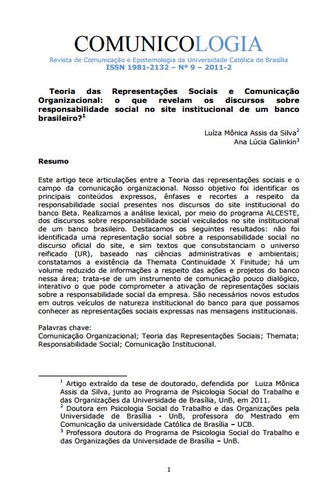 Imagem capa do documento: Teoria das Representações Sociais e Comunicação Organizacionais: o que revelam os discursos sobre responsabilidade social no site institucional de um banco brasileiro?