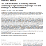 Imagem do documento em inglês: The cost-effectiveness of removing television advertising of high-fat and / or high-sugar food and beverages to Australian children.