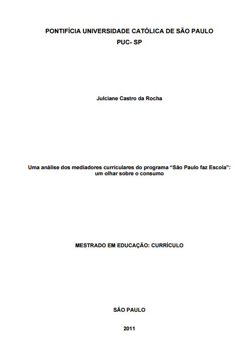 Imagem capa do documento: Uma análise dos mediadores curriculares do programa