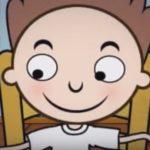Desenho de um garoto sorrindo.