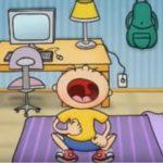 Desenho de um garoto em seu quarto, o garoto está chorando com a boca bem aberta.
