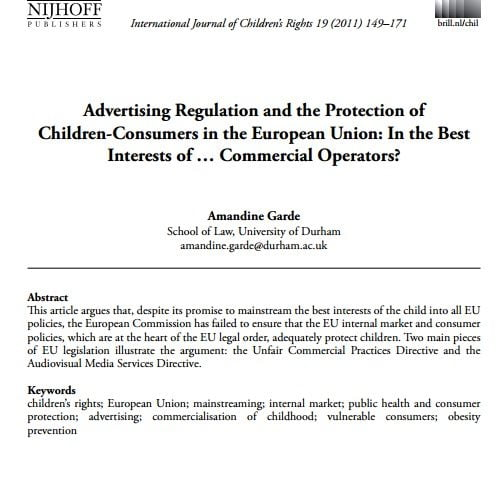 Imagem da capa do documento em inglês: Advertising Regulation and the Protection of  Children-Consumers in the European Union: In the Best Interests of ... Commercial Operators?