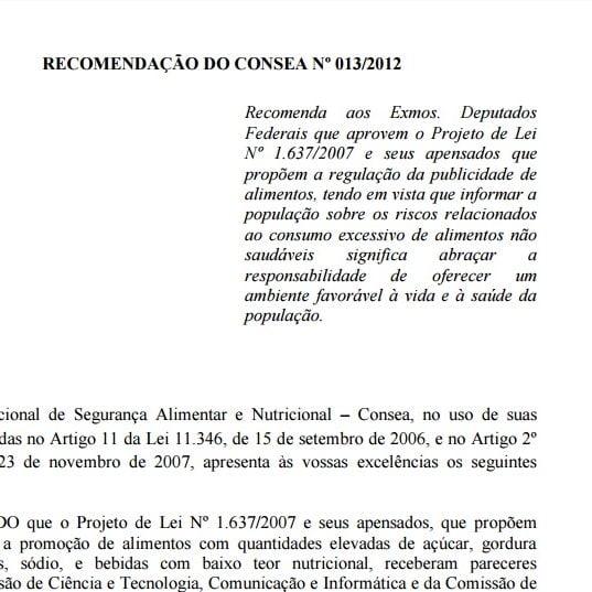 Imagem da capa do documento: Recomendação do CONSEA Nº 013/2012