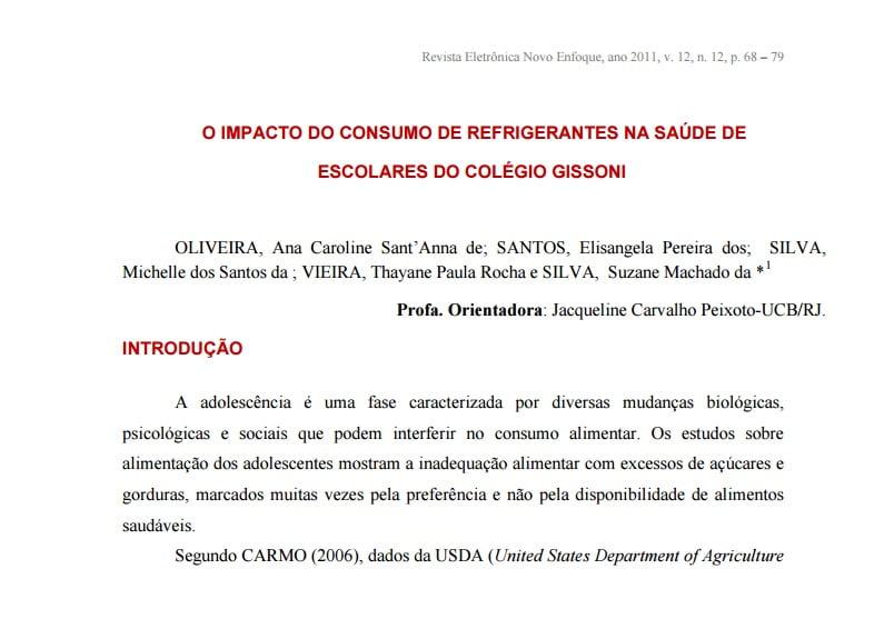 Imagem ca capa do documento: O impacto do consumo de refrigerantes na saúde de escolares do colégio Gissoni.