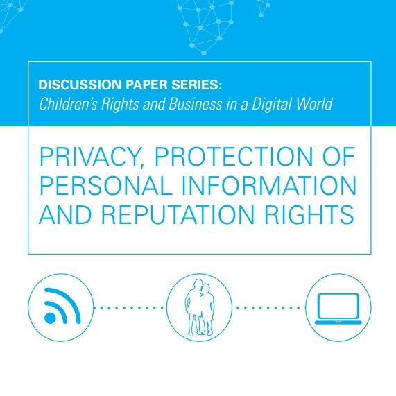 Imagem do livro em inglês: Discussion paper series: Children's rights and Business in a Digital World. Privacy, Protection of personal information and reputation rights.