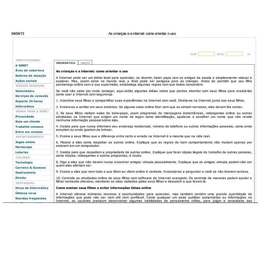Imagem de um documento onde uma aba está aberta com um texto: As crianças e a internet: Como orientar o uso.