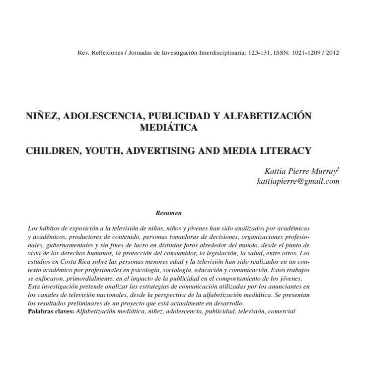 Capa do documento em espanhol: Niñez, adolescencia, publicidad y alfabetización mediática.