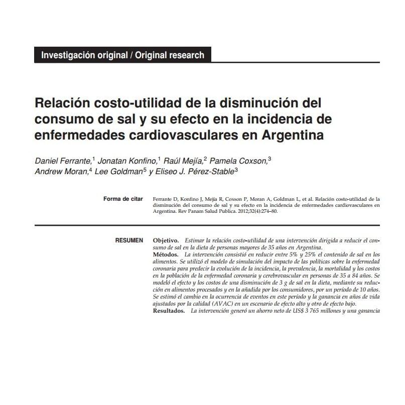 Imagem da capa do livro em espanhol: Relación costo-utilidad de la disminución del consumo de sal y su efecto en la incidencia de enfermedades cardiovasculares en Argentina.