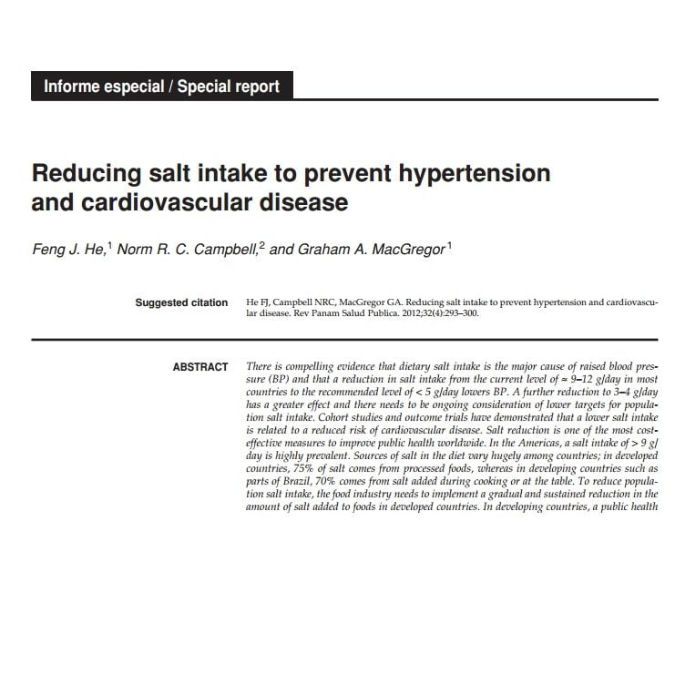 Imagem da capa do livro em inglês: Reducing salt intake prevent hypertension and cardiovascular disease.