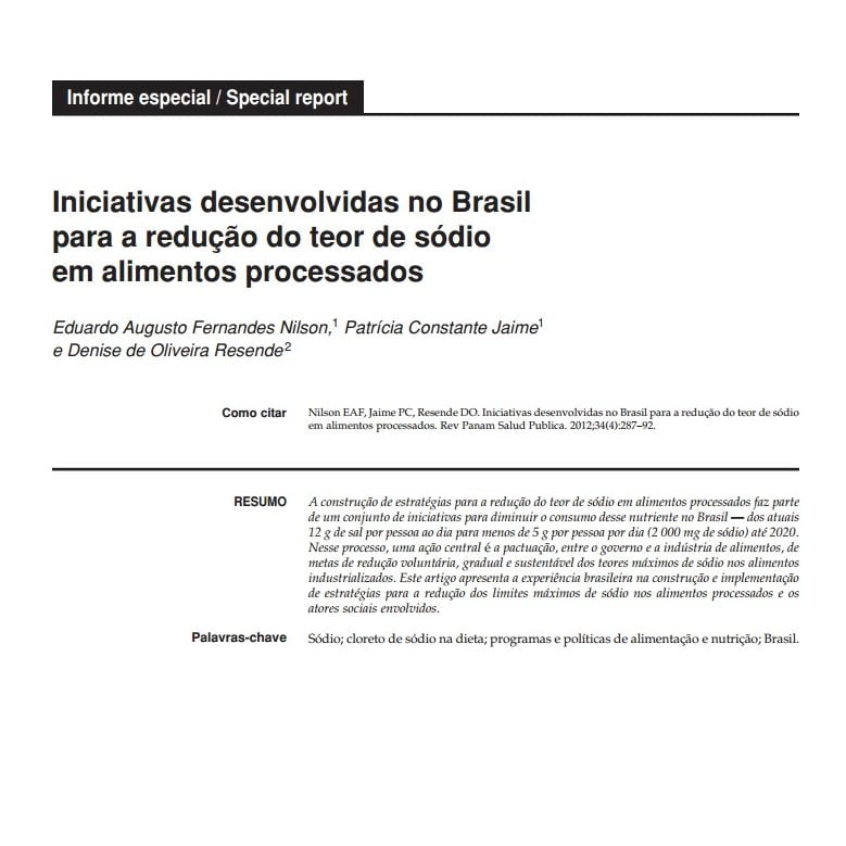 Imagem da capa do documento: Iniciativas desenvolvidas no Brasil para a redução de teor de sódio em alimentos processados.