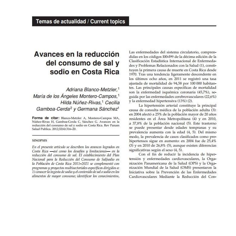 Imagem da capa do documento: Avances en la reducción del consumo de sal y sodio en Costa Rica.