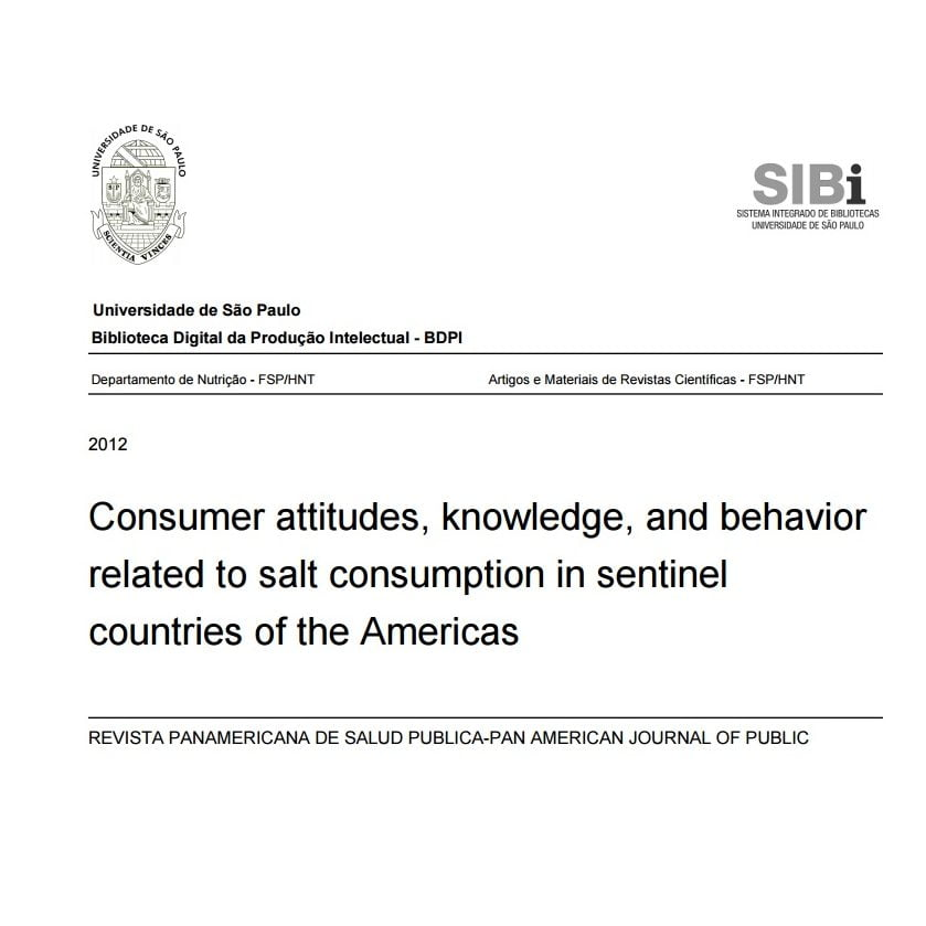 Imagem da capa do documento em inglês: Consumer attitudes, knowledge, and behavior related to salt consumption in sentinel countries of the Americas.