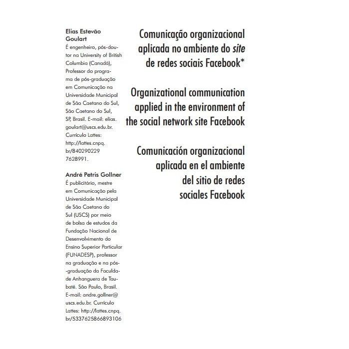 Imagem da capa do documento: Comunicação organizacional aplicada no ambiente do site de redes sociais Facebook.