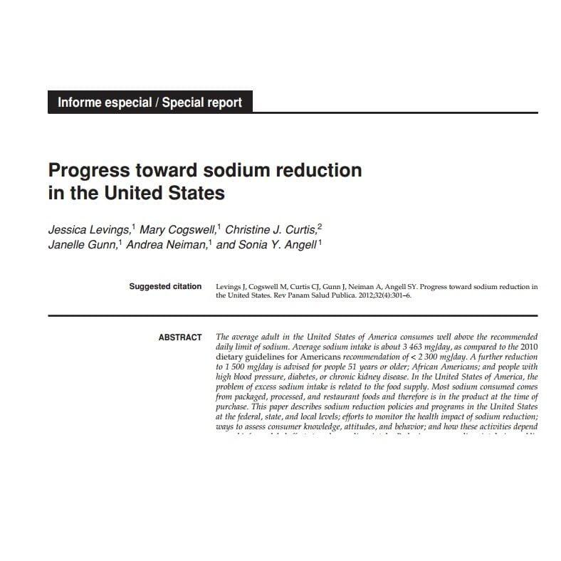 Imagem da capa do documento em inglês: Progress toward sodium reduction in the United States.