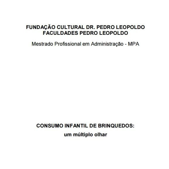 Imagem da capa do documento: Consumo infantil de brinquedos: um múltiplo olhar.