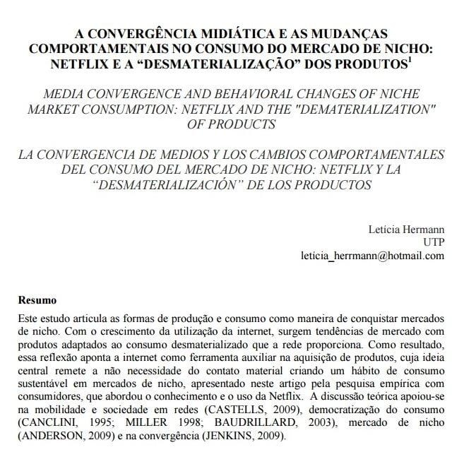 Imagem da capa do documento: A convergência midiática e as mudanças comportamentais no consumo do mercado de Nicho: Netflix e a