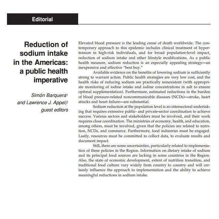 Imagem da capa do documento em inglês: Reduction of sodium intake in the Americas: a public health imperative.