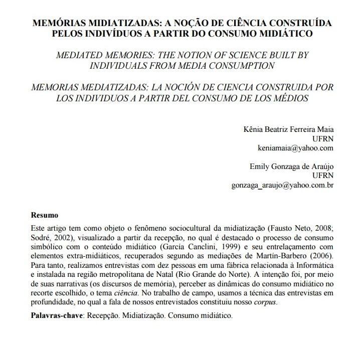 Imagem da capa do documento: Memórias midiatizadas: A noção de ciência construída pelos indivíduos a partir do consumo midiático.