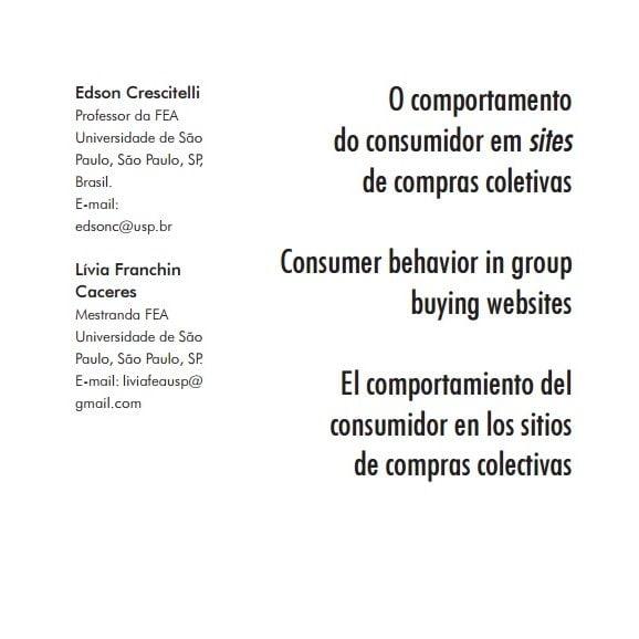 Capa do documento: O comportamento do consumidor em sites de compras coletivas.