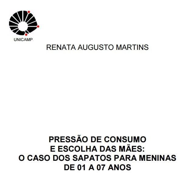 Capa do documento: Pressão de consumo e escolha das Mães: O caso dos sapatos para meninas de 01 a 07 anos.