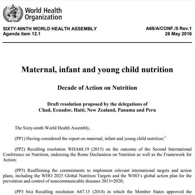 Imagem da capa do documento em inglês: Maternal, infant and young child nutrition.