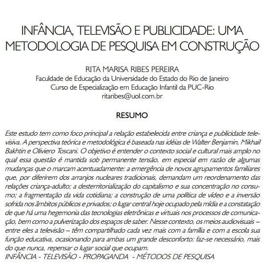 Imagem da capa do documento: Infância, televisão e publicidade: uma metodologia de pesquisa em construção.