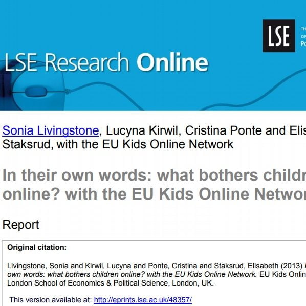 Imagem do documento em inglês: In their own words: what bothers children online? with the EU Kids Online Network.