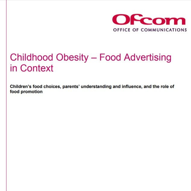 Imagem da capa do documento em inglês: Childhood Obesity ñ Food Advertisingin Context.