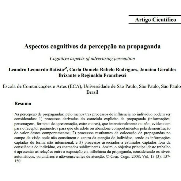 Imagem da capa do documento: Aspectos cognitivos da percepção na propaganda.