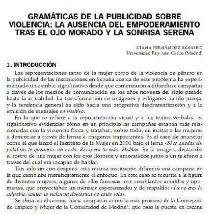 Imagem da capa do documento em Espanhol: Gramáticas de la publicidad sobre violencia: La ausencia del empoderamiento tras el ojo morado y la sonrisa serana.