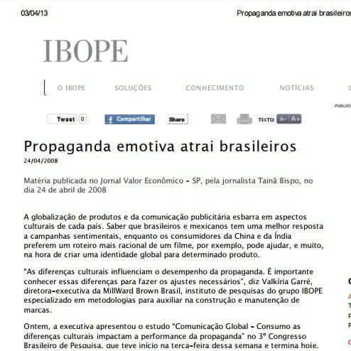 Foto de uma matéria do IBOPE: Propaganda emotiva atrai brasileiros.