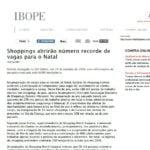 Foto de matéria do IBOPE: Shoppings abrirão número recorde de vagas para o Natal.