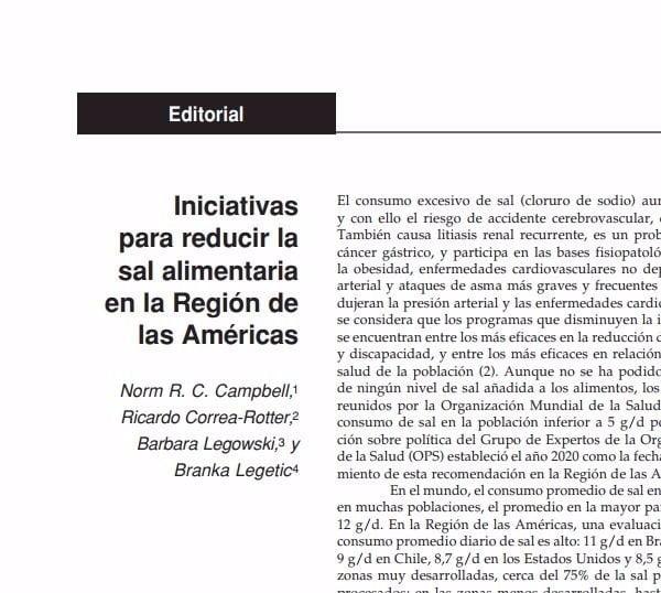 Imagem da capa do documento em espanhol descreve: Iniciativas para reducir la sal alimentaria en la Región de las Américas.