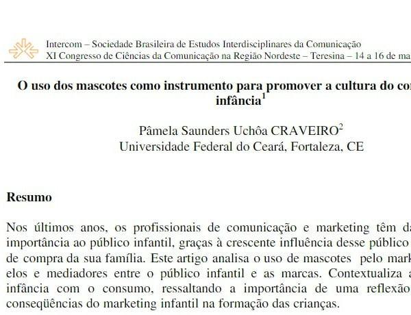 Imagem da capa do documento: O uso dos mascotes como instrumento para promover a cultura do consumo na infância.