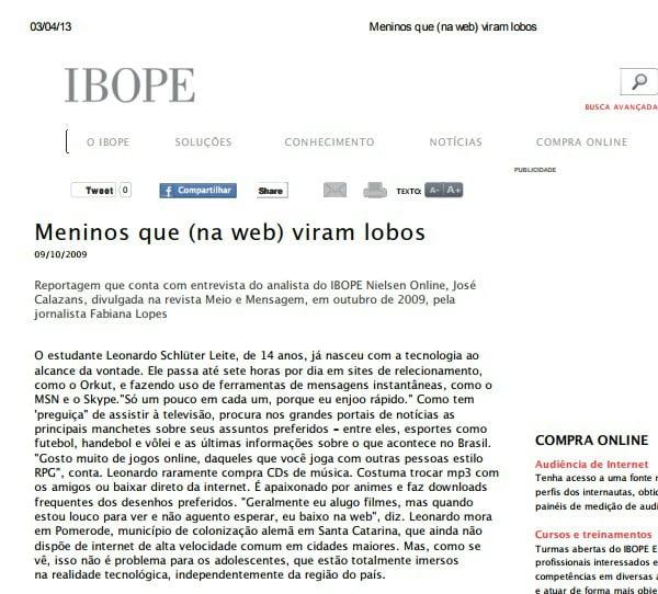 Foto de uma matéria do IBOPE: Menino que (na web) viram lobos.