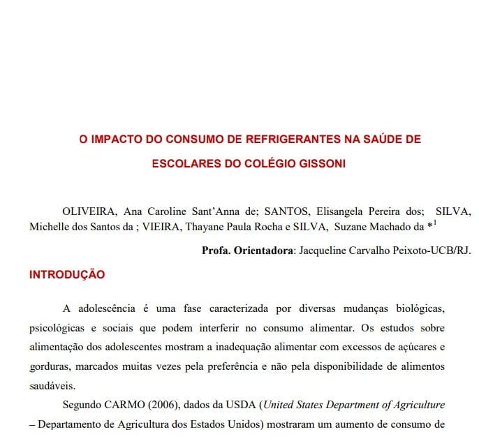 Imagem da capa do documento: O impacto do consumo de refrigerantes na saúde de escolares do colégio Gissoni.
