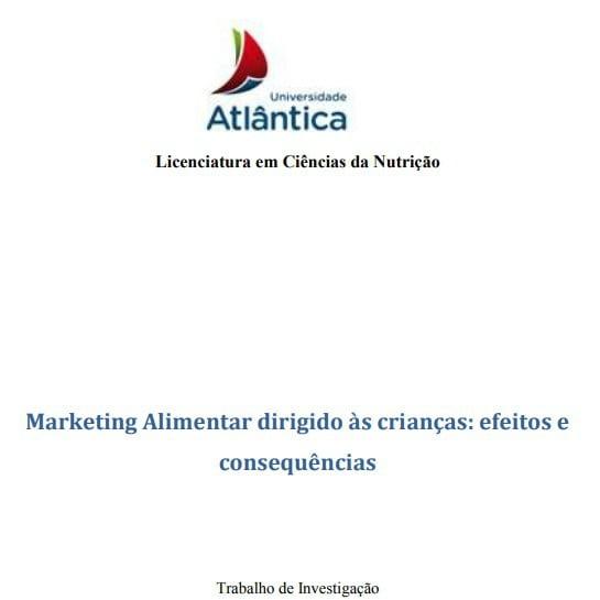 Imagem da capa do documento: Marketing Alimentar dirigido às crianças: efeito e consequências.