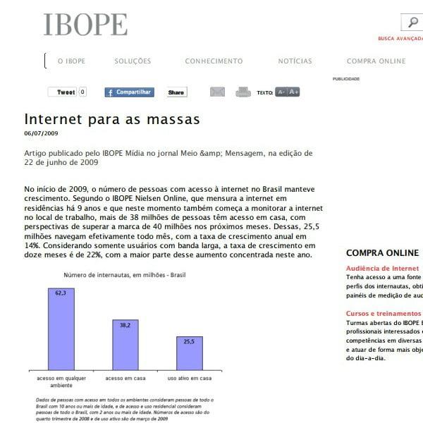 Foto de uma matéria da IBOPE: Internet para as massas.