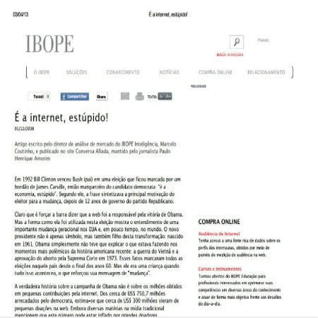 Foto de uma matéria do IBOPE: É a internet, estúpido!