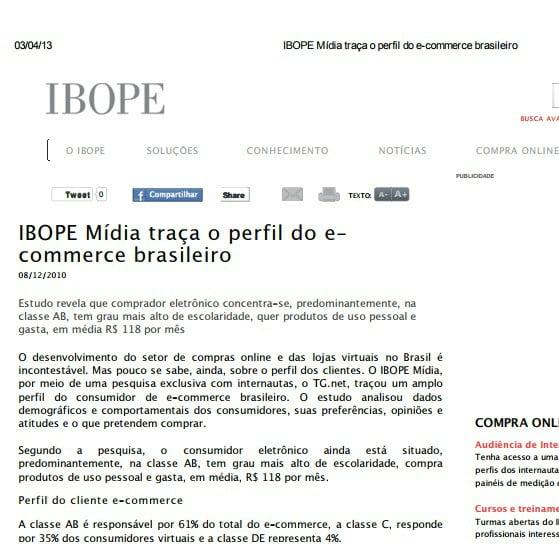 Foto de uma matéria do IBOPE: IBOPE mídia traça o perfil do e-commerce brasileiro.