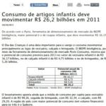 Imagem de uma matéria: Consumo de artigos infantis de movimentar R$26,2 bilhões em 2011.