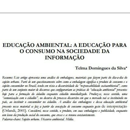 Capa do documento Educação ambiental: A educação para o consumo na sociedade da informação.
