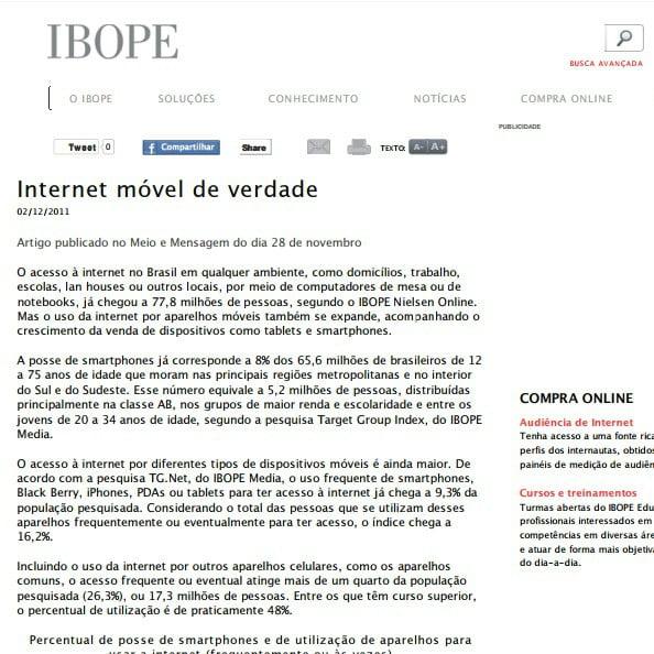 Imagem de uma matéria IBOPE: Internet móvel de verdade.