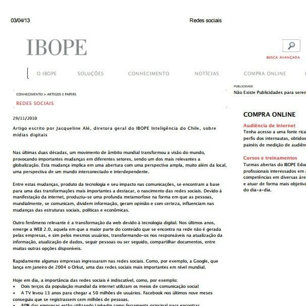 Imagem de uma matéria IBOPE: Redes sociais.