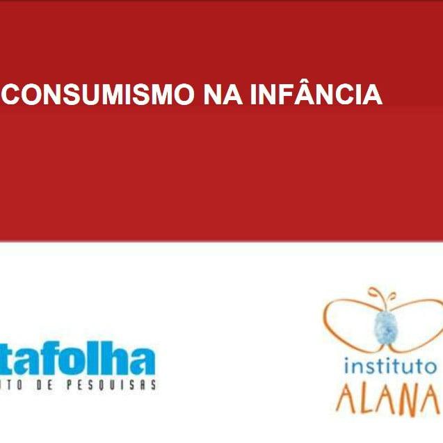 Imagem com dois retângulos, um vermelho que descreve: Consumismo na Infância, e em baixo o retângulo branco com a logo da Datafolha e Instituto Alana.
