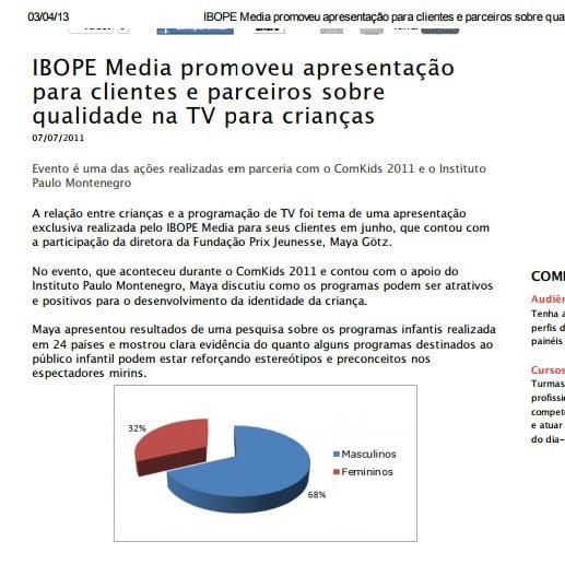 Foto de matéria do IBOPE: IBOPE Media promoveu apresentação para clientes e parceiros sobre qualidade na TV para crianças.